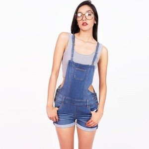 Wax Jean Distressed overall shorts